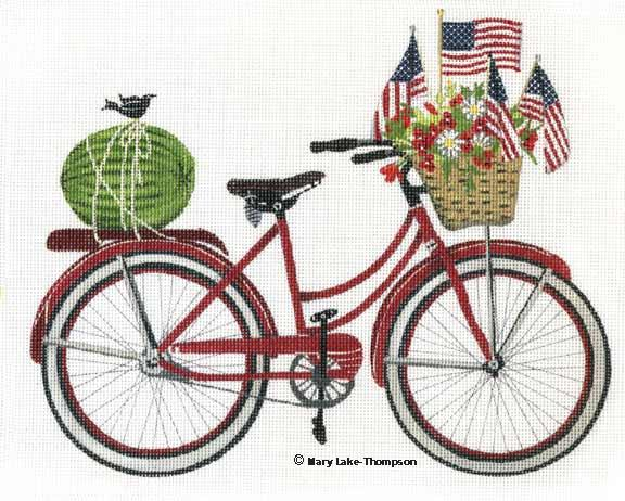 click here to view larger image of 4th of July Bike (hand painted canvases)