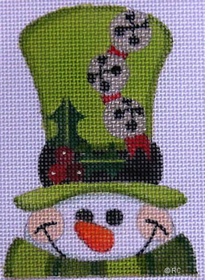 click here to view larger image of Green Hat Snowman (hand painted canvases)