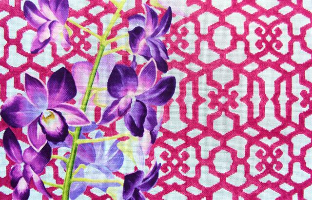 click here to view larger image of Orchid/Trellis (hand painted canvases)