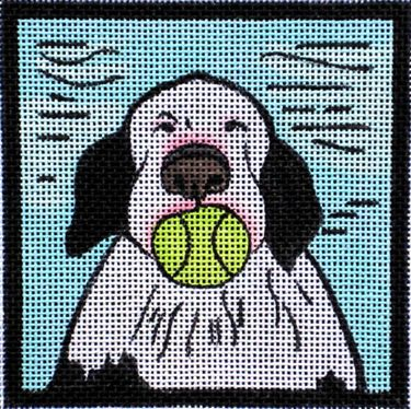 click here to view larger image of Dog With Ball (hand painted canvases)