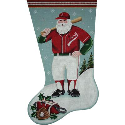 click here to view larger image of Baseball Santa Stocking - 18ct (hand painted canvases)