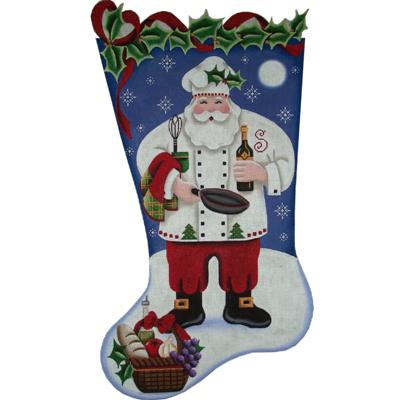 click here to view larger image of Chef Santa Stocking - 18ct (hand painted canvases)