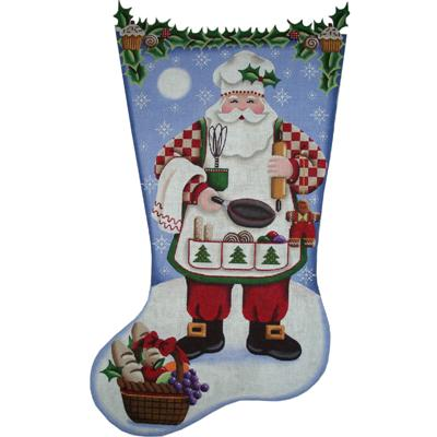 click here to view larger image of Cooking Santa Stocking - 18ct (hand painted canvases)