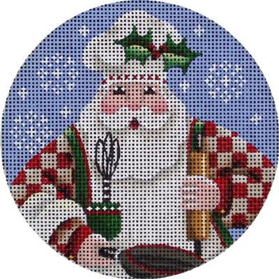 click here to view larger image of Cooking Santa Ornament (hand painted canvases)