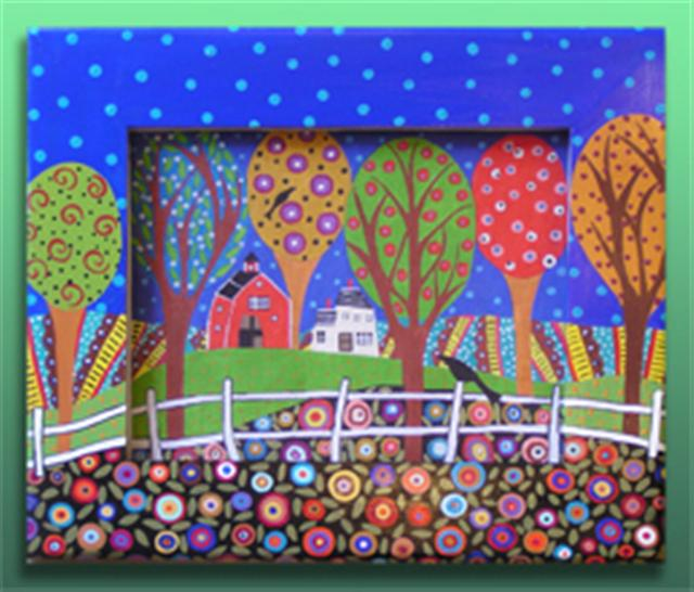 click here to view larger image of Folk Art Farm 2 (Frame Only) (Custom painted frames)