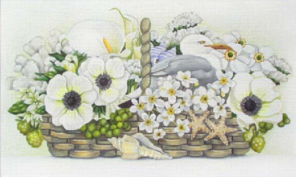 click here to view larger image of Seaside Basket Bouquet (hand painted canvases)