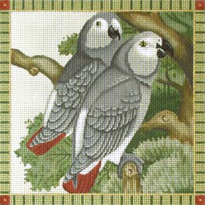 click here to view larger image of African Greys Parrots (hand painted canvases)
