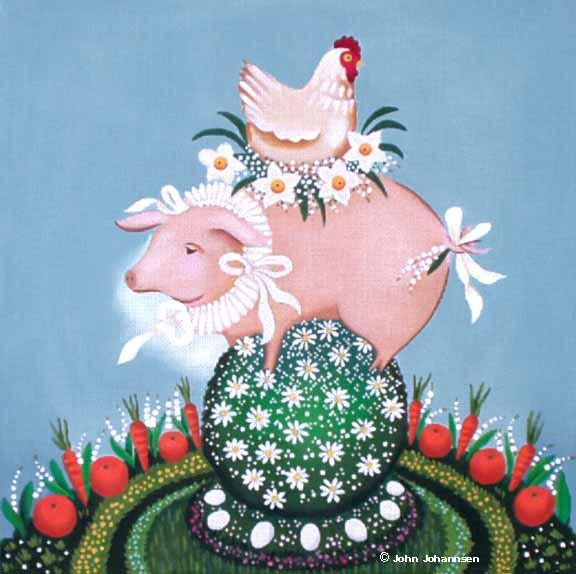 click here to view larger image of Daisy Pig (hand painted canvases)