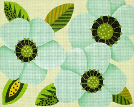 click here to view larger image of Big Blue Flower Clutch/Pillow (hand painted canvases)