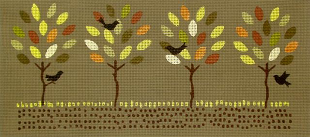 click here to view larger image of Autumn Trees Seasonal Pillow (hand painted canvases)