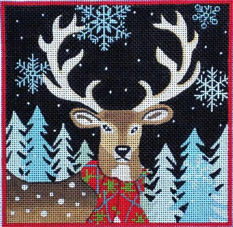 click here to view larger image of Deer With Red Scarf (hand painted canvases)