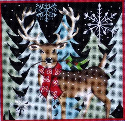 Deer With Holiday Berries hand painted canvases