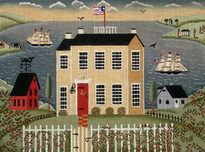 click here to view larger image of House With Ships (hand painted canvases)