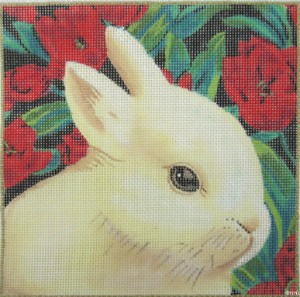 click here to view larger image of White Rabbit with Red Tulips (hand painted canvases)