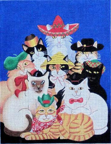 click here to view larger image of Cats with Hats (hand painted canvases)
