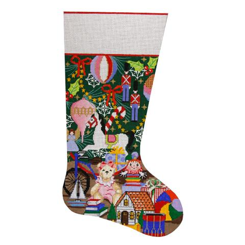 click here to view larger image of Christmas Toys Stocking (hand painted canvases)