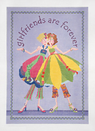 click here to view larger image of Girl Friends are Forever (hand painted canvases)