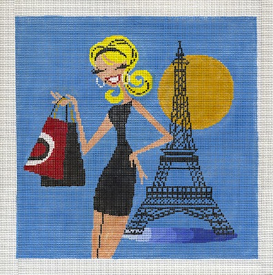 click here to view larger image of Flirty Girl in Paris (hand painted canvases)