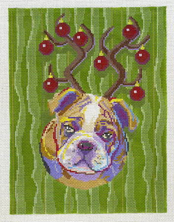 click here to view larger image of Bulldog w/Antlers (hand painted canvases)