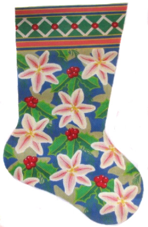 click here to view larger image of Peach Lily Stocking (hand painted canvases)