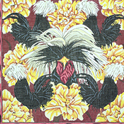 click here to view larger image of 5 Black Crested Fowl and Flowers (hand painted canvases)