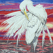 click here to view larger image of Large Egret / sunset (hand painted canvases)