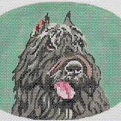 click here to view larger image of Bouvier des Flandres Oval (hand painted canvases)