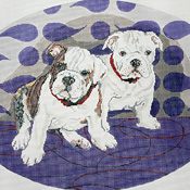 click here to view larger image of Bulldog Pups (hand painted canvases)