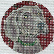 click here to view larger image of Weimaraner Head (hand painted canvases)