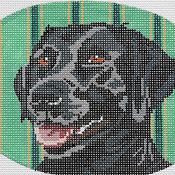 click here to view larger image of Black Lab Oval (hand painted canvases)