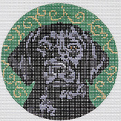 click here to view larger image of Black Lab/Circular (hand painted canvases)