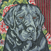 click here to view larger image of Black Lab/Floral Background (hand painted canvases)