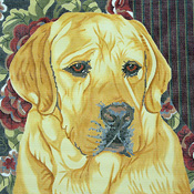 click here to view larger image of Yellow Lab/Floral Bkgd (hand painted canvases)