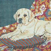 click here to view larger image of Yellow Lab Puppy on Cushion (hand painted canvases)
