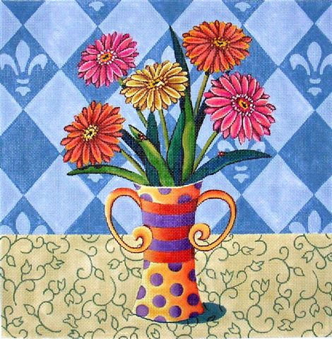 click here to view larger image of Zinnias (hand painted canvases)