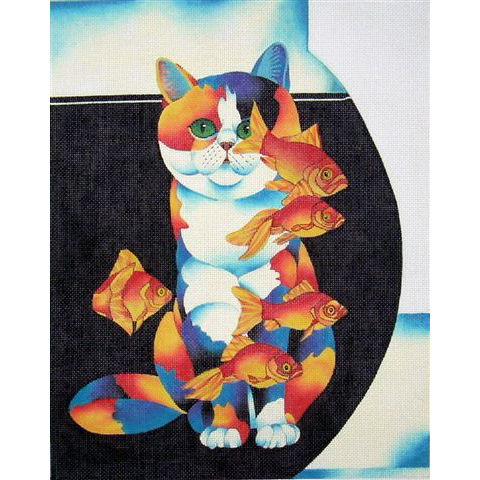 click here to view larger image of Cat & Fish Bowl (hand painted canvases)