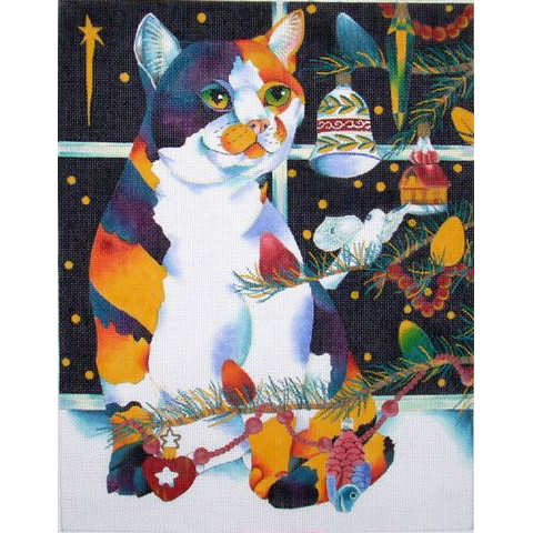 click here to view larger image of Cat with Christmas Ornaments (hand painted canvases)