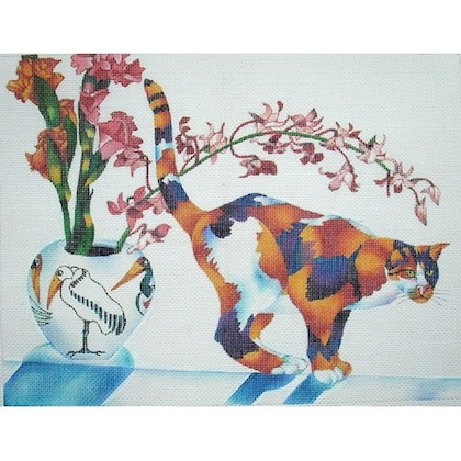 click here to view larger image of Calico Cat/Orchid (hand painted canvases)
