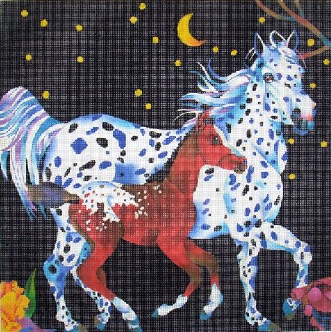 click here to view larger image of Appaloosa Mother & Baby (hand painted canvases)