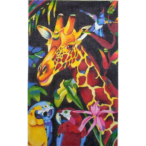 click here to view larger image of Giraffe & Parrot (hand painted canvases)