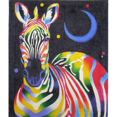 click here to view larger image of Rainbow Zebra (hand painted canvases)