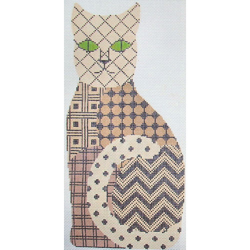 click here to view larger image of Black & Tan Pattern Cat (hand painted canvases)