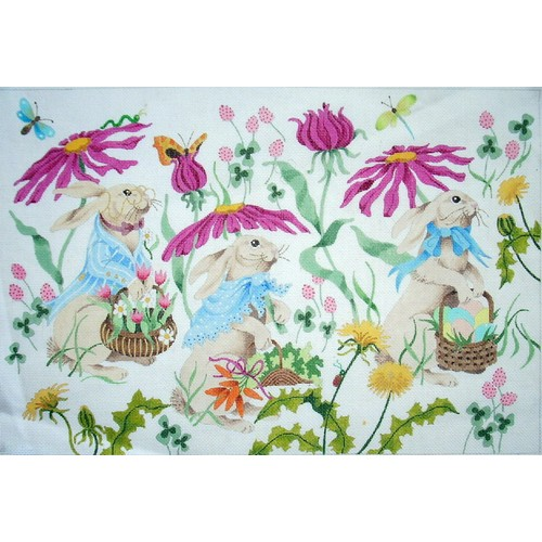 click here to view larger image of Bunnies on Parade (hand painted canvases)
