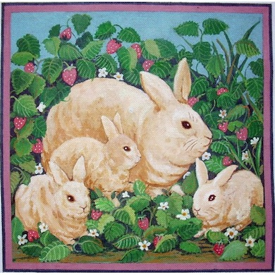 click here to view larger image of Bunnies Family (hand painted canvases)