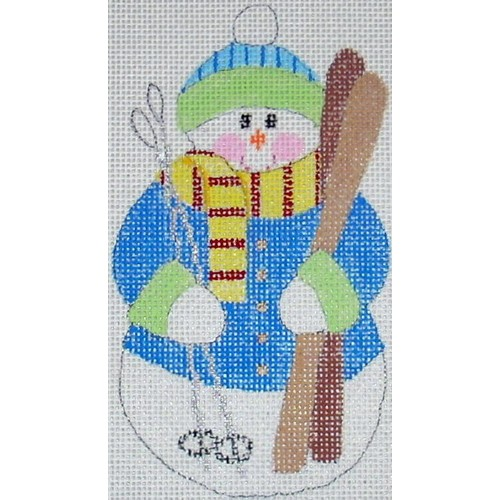 click here to view larger image of Skier Snowman (hand painted canvases)