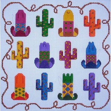 click here to view larger image of Colorful Cowboy Hats & Cactus (hand painted canvases)