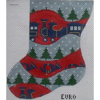 click here to view larger image of Train Mini Stocking (hand painted canvases)