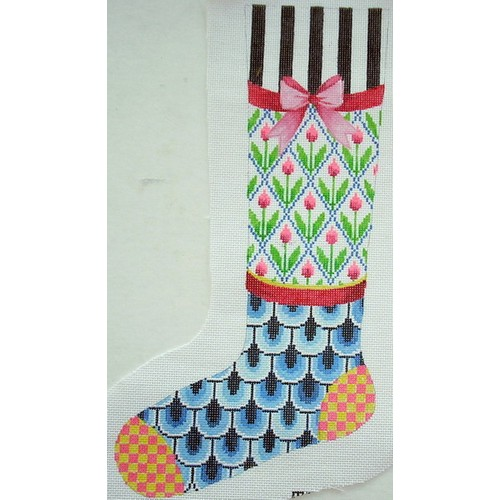 click here to view larger image of Bright Tulip Stocking (hand painted canvases)