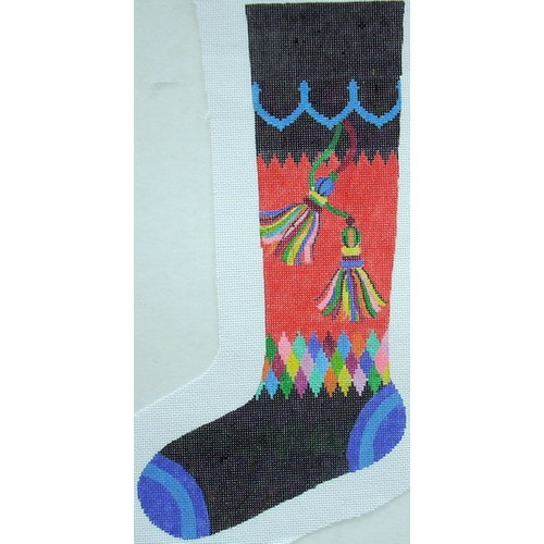 click here to view larger image of Bright Stocking Tassel in Black (hand painted canvases)