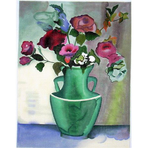 click here to view larger image of Teal Vase with Roses (hand painted canvases)